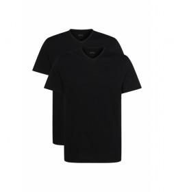 Pack de 2 Camisetas Interior con Cuello de Pico negro