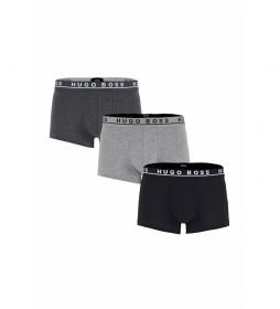 Pack de 3 Boxers en Algodón con Logo gris, negro
