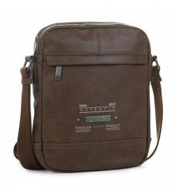 Bolsa Bandolera de Hombre Grande T26026 marrón -27x21x6cm-