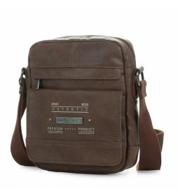 Bolso Bandolera de piel T26021 marrón -16x22x6cm-