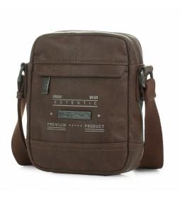Bolso bandolera de piel T26019 marrón  -16x20x5cm-