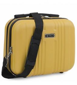Neceser Rígido ABS Grande de Viaje T71535 mostaza  -33x26x14cm-