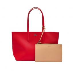 Bolso Anna Reversible rojo, beige -35x30x14cm-