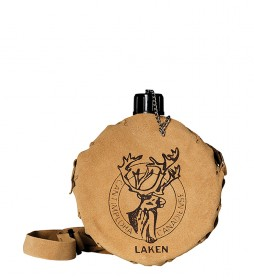 Laken Round aluminum water bottle with brown leather case -1L / 350g-