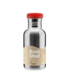 Laken Botella de acero inoxidable Basic Steel con tapón blando rojo -0,50L / 125g-