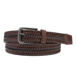 Cinturón de piel Woven Stretch marrón