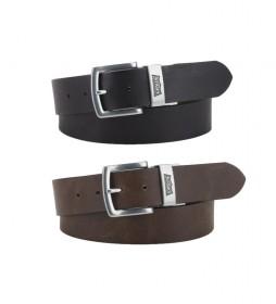 Cinturón de piel Reversible Louie marrón, negro