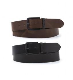 Cinturón de piel Reversible Core Metal Belt negro, marrón