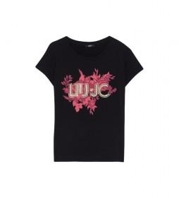 Camiseta con flores y strass negro