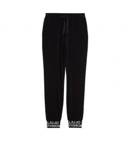 Pantalones con Bordados de Pedrería negro