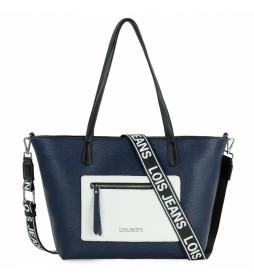 Bolso shopping Neacola azul, blanco -41-29x27x12cm-