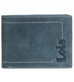 Cartera monedero de piel 201501 azul -11,5x9 cm-