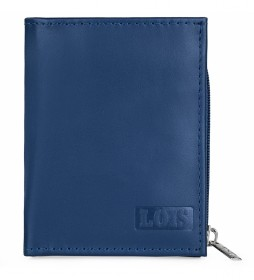 Cartera monedero de piel  202053 azul -8,3x10 cm-