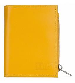 Cartera monedero de piel  202053 amarillo -8,3x10 cm-