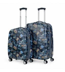Juego de 2 maletas Saint Maurice  130100 azul - 45x70x25cm -