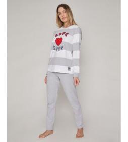 Pijama Club gris, blanco