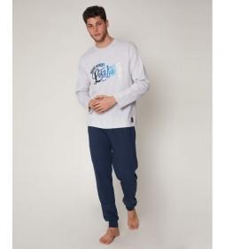 Pijama Indigo gris, azul
