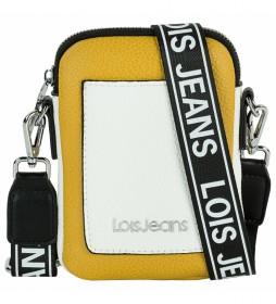 Mini bolso Neacola mostaza, blanco -12x17x2cm-