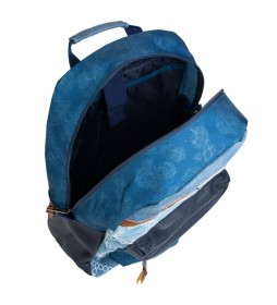 Mochila de Mujer de Diseño Casual. Lona Denim Estampada  301504 azul -33x43x16cm-