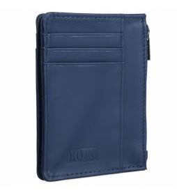 Monedero de piel 202004 azul -8,3x11,3x1cm-