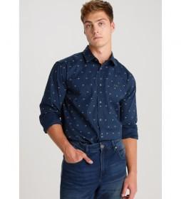 Camisa Jim-Foxx  Popelin Mini Print azul