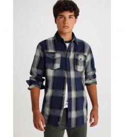 Camisa Ora-Tommy manga larga Cuadros azul y gris