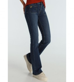 Jeans Agata-Sandory Medium Blue Bolsillos Plastron azul marino