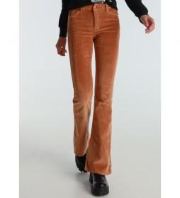 Pantalones Coty Flare-Barbol Color Pana Gruesa marrón