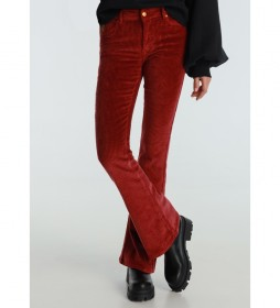 Pantalones Coty Flare-Barbol Color Pana Gruesa granate