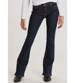Pantalón jeans Flare-Minerva azul oscuro denim