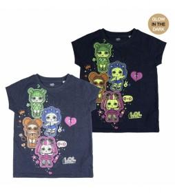 Camiseta Corta Premium Glow In The Dark Lol marino