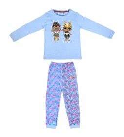 Pijama largo Rib Lol azul