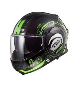 LS2 Helmets Casco modular Valiant FF399 Nucleus Black Glow Green -Pinlock Max Vision incluido -