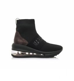 Zapatillas abotinadas 63151 negro -Altura cuña: 5,70cm-