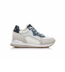 Zapatillas 68019 blanco roto, azul -Altura cuña: 5 cm-