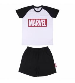 Pijama Corto Single Jersey Marvel blanco, negro