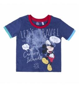 Camiseta Corta Let's Travel Mickey azul