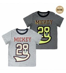 Camiseta Corta Premium Glow In The Dark  Mickey gris