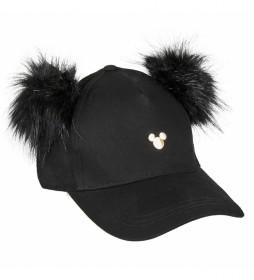 Gorra Baseball Pompom Mickey negro
