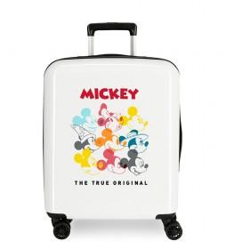 Maleta de cabina rígida Mickey Magic caras beige -40x55x20cm-