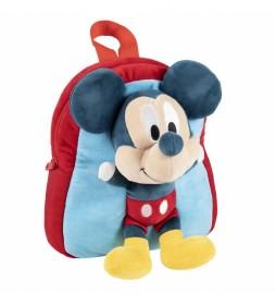 Mochila Con Peluche Mickey multicolor - 20x23x8cm-