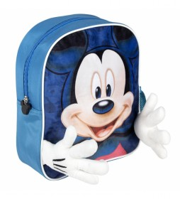 Mochila Aplicaciones Mickey azul -25x31x10cm-