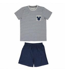 Pijama Corto Mickey gris, marino