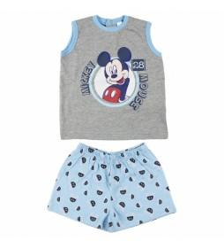 Pijama Corto Single Jersey Mickey gris, azul