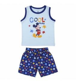 Pijama Corto Single Jersey Mickey azul