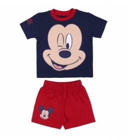 Pijama Corto Single Jersey Cara Mickey marino, rojo