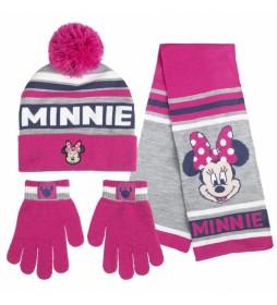 Pack de gorro, guantes y bufanda  Minnie gris