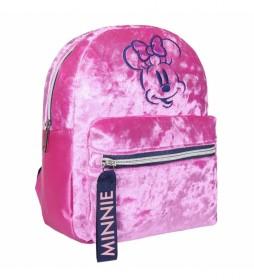 Mochila casual Moda Pelo Minnie rosa -21x26x10cm-