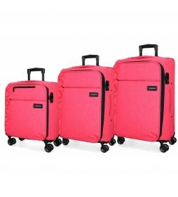 Juego de 3 maletas 36L, 65L y 98L Movom Oslo fresa -55x40x20cm/69x44x26cm/79x49x30cm-
