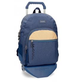 Mochila escolar Movom Babylon Azul -33x44x13,5cm- con carro
